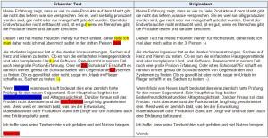 Erkannter Text, aufgenommen mit H2N