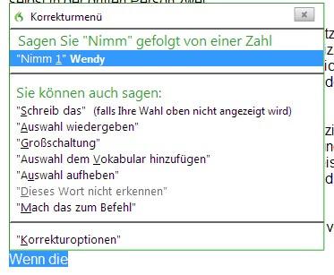 Screenshot Korrekturvorschläge