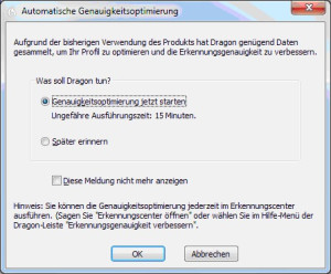 Screenshot Genauigkeitsoptimierung