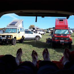 Buschtaxi-Treffen- Ausblick auf Aufstelldächer